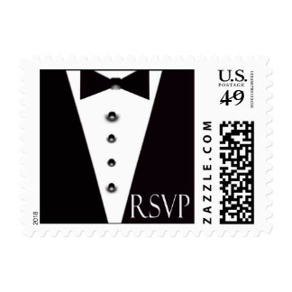 Black Tie Small RSVP Stamp