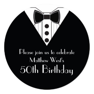 Black Tie Tuxedo 50th Birthday Invitations