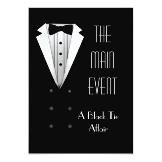 Black Tie Tuxedo 5x7 Paper Invitation Card