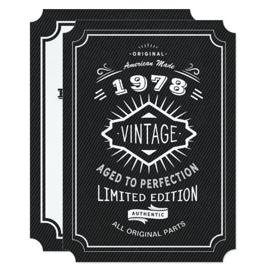 Black Tie Vintage 40th Birthday Party Invitation