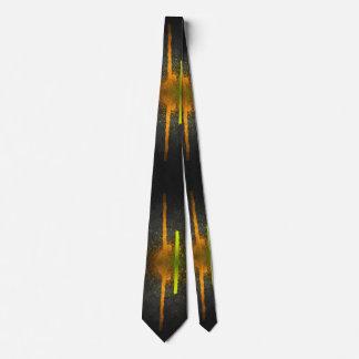 Black Tie with Orange and Yellow Paint Splash