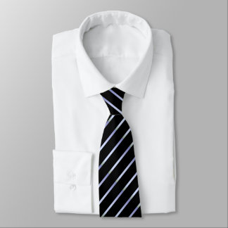 Black Tie With Silver-White Stripes