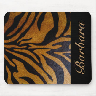 Black Tiger Stripe Typography Mouse Pad