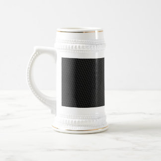 Black Tightly Woven Carbon Fiber Textured Beer Stein