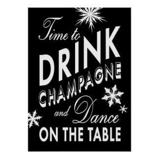 Black Time to Drink Champagne Holiday Poster
