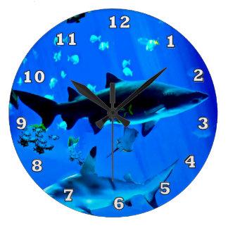 Black Tipped Sharks Large Clock