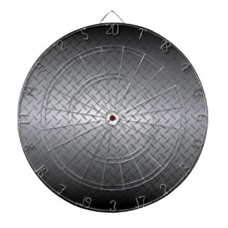 Black to Bright Steel Fade Diamondplate Background Dart Board