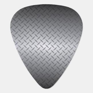 Black to Bright Steel Fade Diamondplate Background Guitar Pick