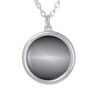 Black to Bright Steel Fade Diamondplate Background Round Pendant Necklace