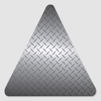 Black to Bright Steel Fade Diamondplate Background Triangle Sticker