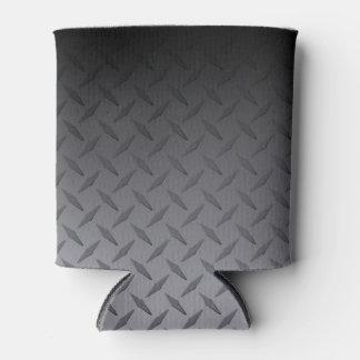 Black to Gray Diamondplate Steel Look Art Can Cooler