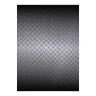 Black to Gray Diamondplate Steel Look Art Magnetic Invitations
