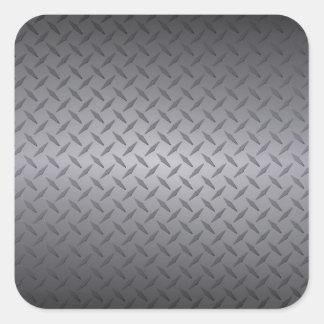 Black to Gray Fade Diamondplate Steel Background Square Sticker