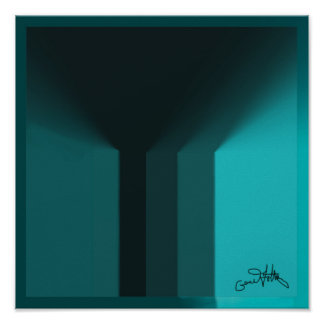Black to Light Blue Abstract Poster