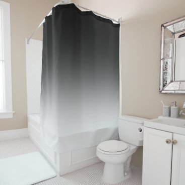 Beach Themed Black to White Gradient Shower Curtain