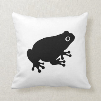 Black toad frog throw pillow