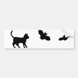 Black tomcat with bat bumper sticker