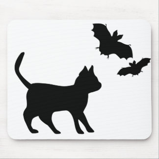 Black tomcat with bat mouse pad