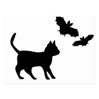 Black tomcat with bat postcard