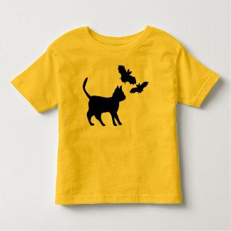 Black tomcat with bat toddler t-shirt