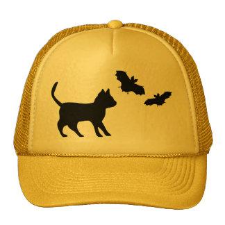 Black tomcat with bat trucker hat