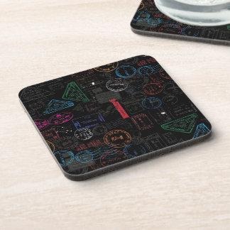 Black Tones Traveling Pasport Stamps. Coaster