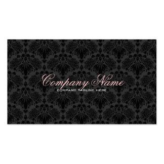 Black Tones Vintage Orante Floral Damasks  Pattern Double-Sided Standard Business Cards (Pack Of 100)