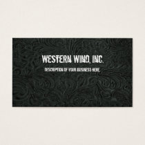 Black Tooled Leather Business Card