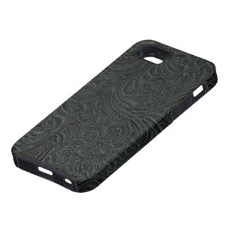 Black Tooled Leather Look Cowboy Country iPhone 5 Covers