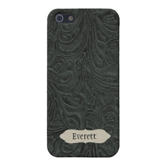 Black Tooled Leather Look Personalized iPhone SE/5/5s Case