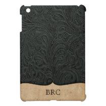 Black Tooled Leather Look Western Personalized iPad Mini Case
