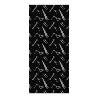 Black tools pattern rack cards