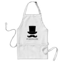 Black top hat and mustache BBQ apron for men