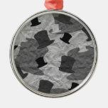 Black Top Hat Camo Round Metal Christmas Ornament