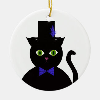 Black TopHat Cat BlueBow  Ornament