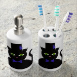 Black TopHat Cat Toothbrush/Soap Dispenser Set