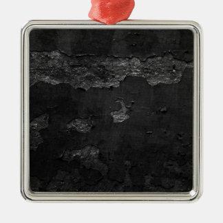 Black Torn Damaged Paper BAckground Metal Ornament