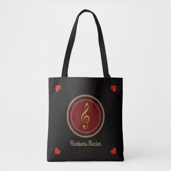 black tote bag of music with name