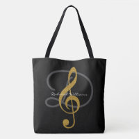 black tote bag with her name & treble clef