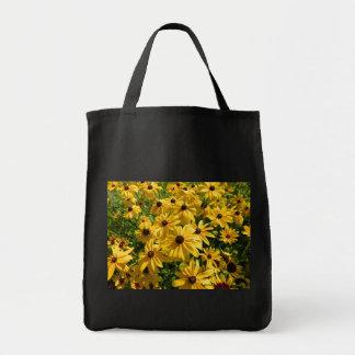 Black Tote Bag Yellow Wildflowers