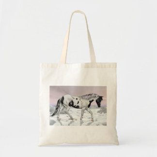 Black Tovero Paint Horse in Snow Tote Bag