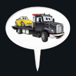 "Black Tow Truck Flatbed Cartoon Cake Topper<br><div class=""desc"">A whimsical cartoon flatbed tow truck ready to service all your cartoon car care needs.</div>"