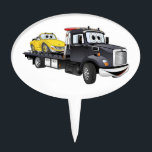 """Black Tow Truck Flatbed Cartoon Cake Topper<br><div class=""""desc"""">A whimsical cartoon flatbed tow truck ready to service all your cartoon car care needs.</div>"""