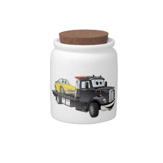 Black Tow Truck Flatbed Cartoon Candy Jars