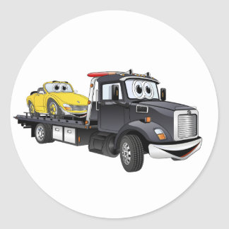 Black Tow Truck Flatbed Cartoon Classic Round Sticker