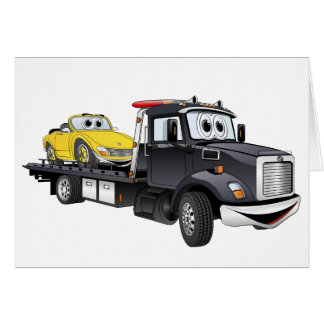 Black Tow Truck Flatbed Cartoon Greeting Card
