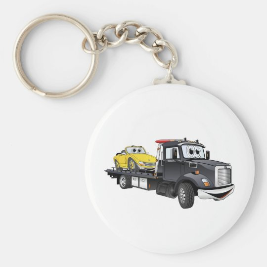 Black Tow Truck Flatbed Cartoon Keychain