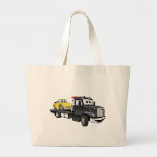 Black Tow Truck Flatbed Cartoon Large Tote Bag