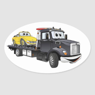 Black Tow Truck Flatbed Cartoon Oval Sticker