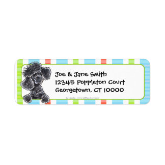 Black Toy Poodle Fun Stripes Return Address Label